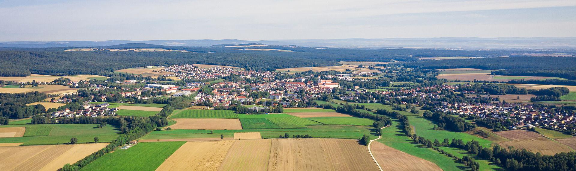 Luftaufnahme von der Stadt Waldsassen.